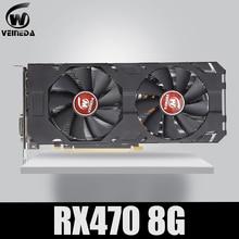 Veineda بطاقة الفيديو 100% الأصلي الجديد RX 470 8GB 256Bit GDDR5 DP HDMI DVI ل AMD بطاقة جرافيكس متوافق rx 570 8gb