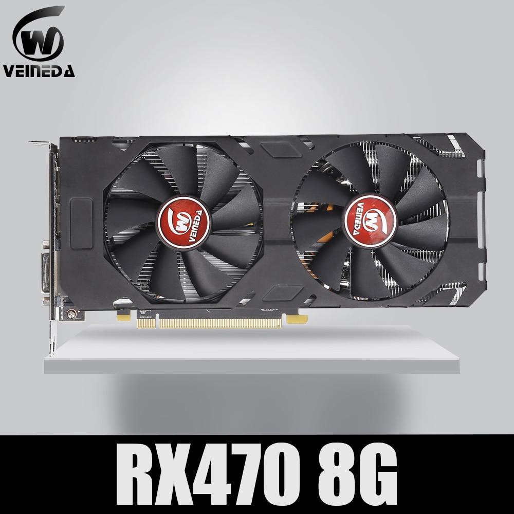 Veineda Scheda Video Originale di 100% nuovo RX 470 8GB 256Bit GDDR5 DP HDMI DVI per AMD Scheda grafica non di estrazione mineraria Compatibile rx 570 8gb