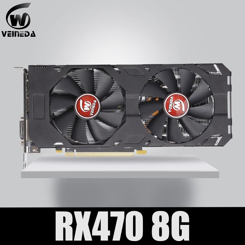 Veineda carte vidéo 100% Original nouveau RX 470 8GB 256Bit GDDR5 DP HDMI DVI pour carte graphique AMD pas d'exploitation Compatible rx 570 8gb