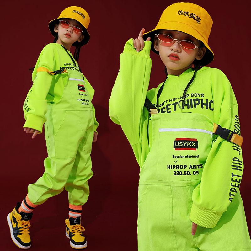 Hip-Hop Dance Costumes Kids Fluorescence Green Overall Hip Hop Pants Children Performance Street Wear School Girl Costume BI032