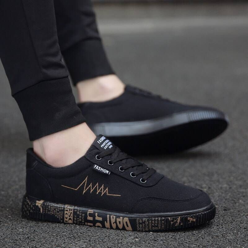 Black Shoes New 2019 Spring Summer Canvas Shoes Men Sneakers Low top Black ...