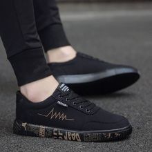 New 2019 Spring Summer Canvas Shoes Men Sneakers Low top Black Shoes