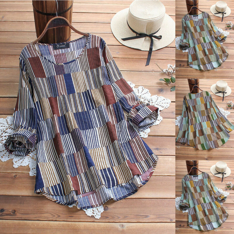 Womens Summer Summer Striped V Neck Blouses Loose Baggy Blouse Tunic Shirts Plus Size Shirt
