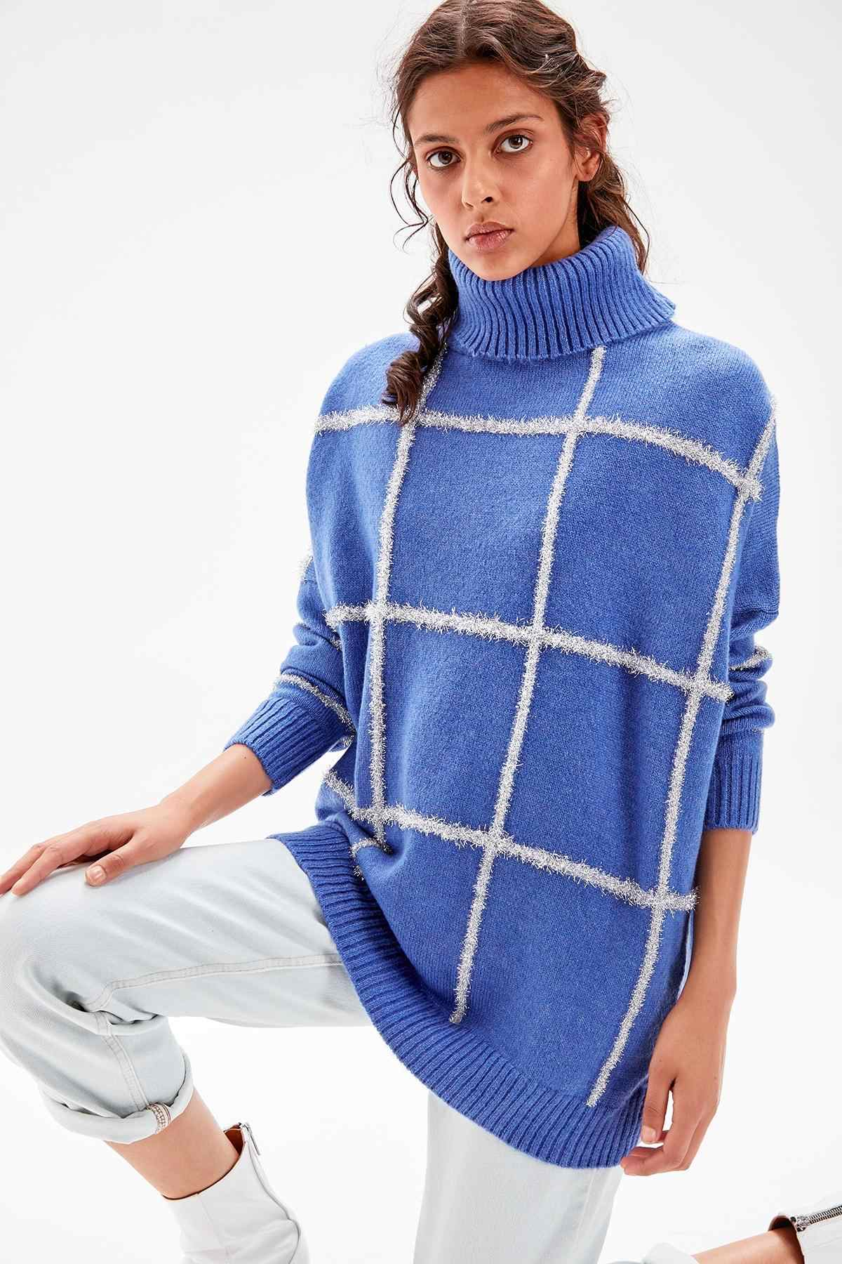 Trendyol Blue Silvery and Sequined Sweater Sweater TWOAW20KZ0124