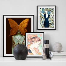 Watercolor Flower Butterfly Girl Wall Art Canvas Painting Nordic Posters And Prints Abstract Pictures For Living Room Decor
