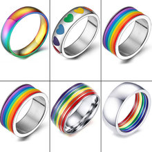 Men Women Rainbow Colorful Ring Round Engagement Wedding Stainless Steel Rings Trendy Band Lesbian & Gay Couple Rings Jewelry