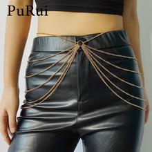 PuRui Multilayer Chains Tassel Waist Chain Belt Fashion Gold Color Metal Belly Chains for Women Body Jewelry Hip Hop Accessory crystal studded wide waist chain adjustable length roman wedding jewelry luxurious women gold color rhinestone belly chains belt