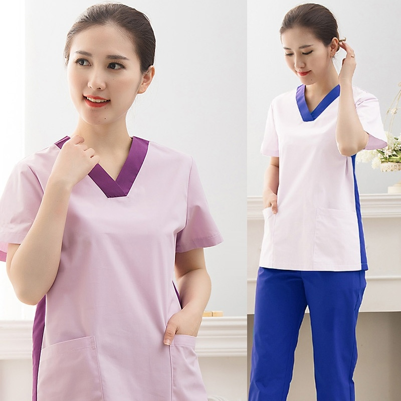 Women's Scrub Set Pure Cotton Medical Uniforms Beauty And Health Work Clothes Doctor Nurse Enfermagen Hospital V-neck Top+Pants