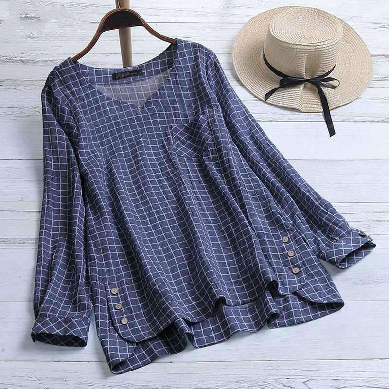 2019 Plus Size ZANZEA Ladies Blouse Women Casual V Neck Long Sleeve Check Plaid Work OL Loose Tunic Tops Shirt Blusas Feminina