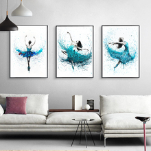 Modern Ballerina Abstract Canvas Paintings Art Prints Turquoise Rain Dancer Posters Wall Living Room Nordic Home Decor Pictures