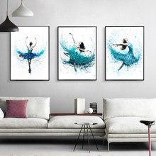 Peinture sur toile abstraite de ballerine moderne, imprimés d'art Turquoise, affiches de danse de pluie, mur de salon, décor nordique de maison, photos