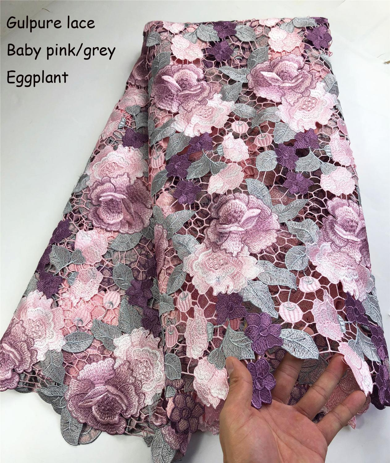 Latest Design African Lace Fabrics High Quality Lace Guipure Cord Lace Fabric For Women Party Dress Material GDP007