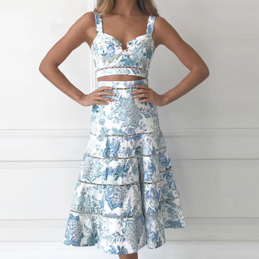 2020 Women Sets Fashiong Sexy Crop Top and Long Skirt Flower Printed 2 Piece Sets Women Clothing 2 Piece Sets Womens Outfits