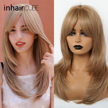 Inhaircube Long Ombre Brown Honey Blonde Straight Hair Wig Synthetic Wigs Heat Resistant with Bangs for Black Women Free Hairnet(China)