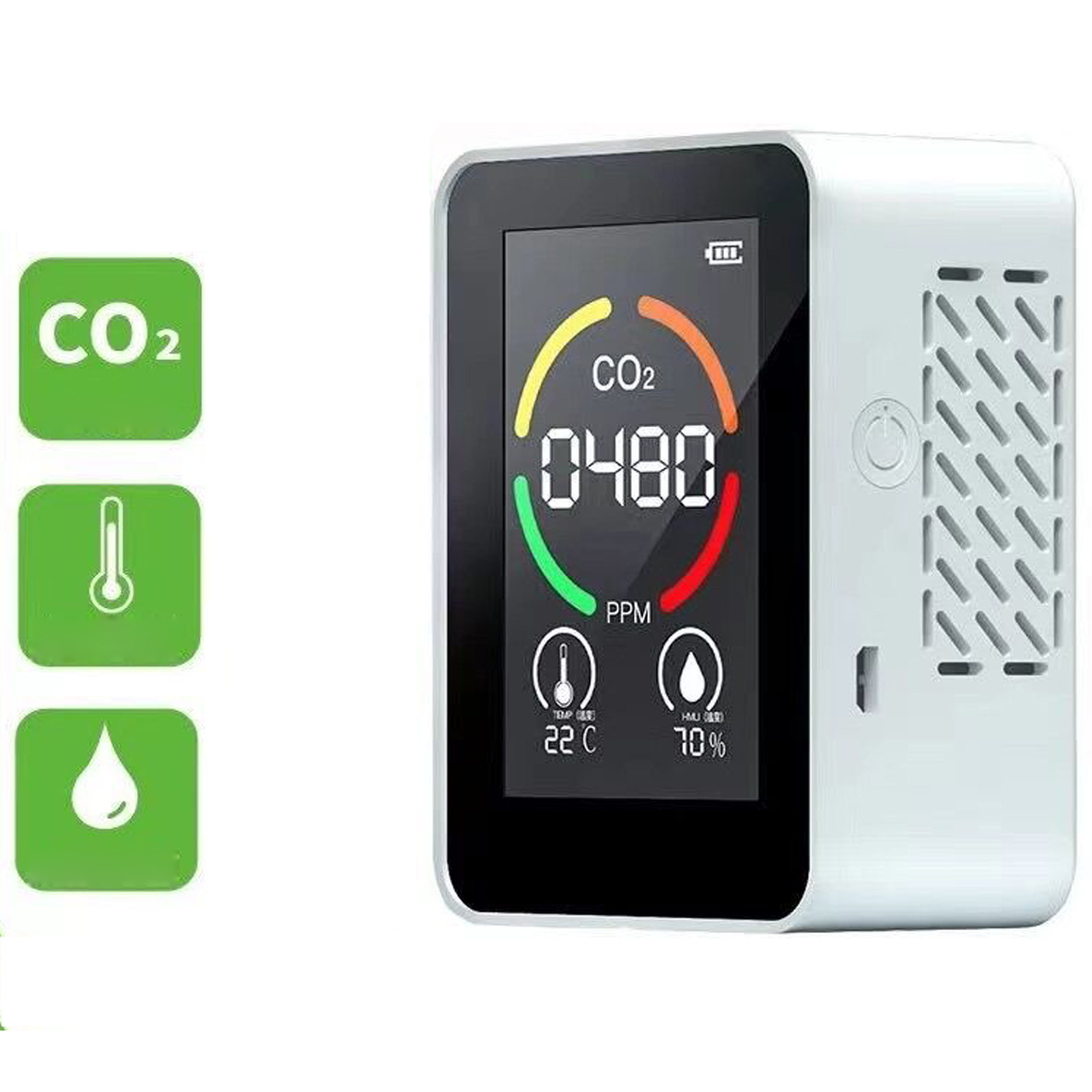 Usb Rechargeable Co2 Meter Air Quality Monitor Carbon Dioxide Sensor Tvoc Detector Concentration Temperature Humidity Testing