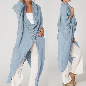 Celmia Plus Size Women Tops and Blouses 2020 Vintage Long Sleeve Long Shirt Casual Cowl Neck Loose Asymmetrical Blusas Femininas sweetheart neck plus size asymmetrical top