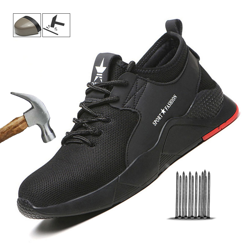 Manlegu Men's Steel Toe Work Safety Shoes Men Winter Casual Breathable Work Shoes Outdoor Sneakers Puncture Proof Boots