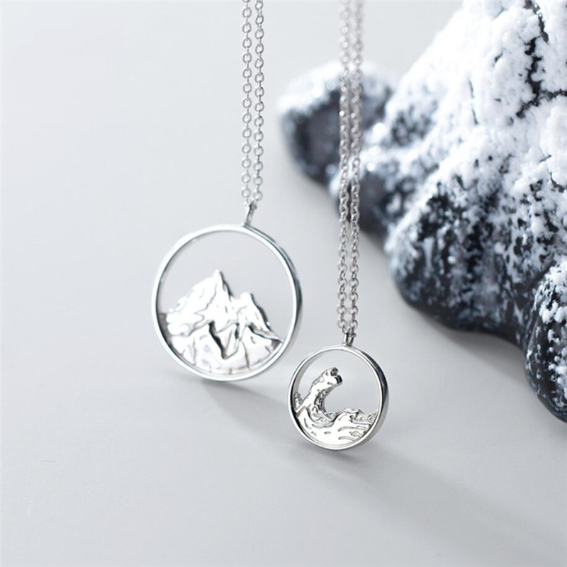 Sole Memory Couple Romantic Sweet Gift Ocean Mountain Vows 925 Sterling Silver Clavicle Chain Female Necklace SNE484
