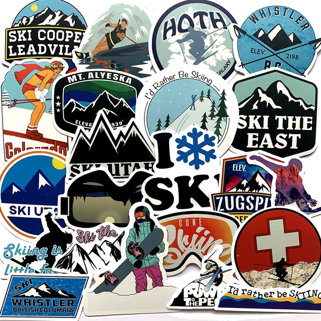 50Pcs Pack Winter Skiing Snow Mountain Graffiti Stickers For Luggage Laptop Skateboard Snowboard Refrigerator Ski Decal Stickers