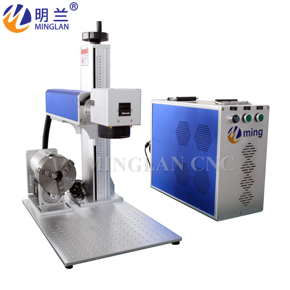 4 Axis 30W Fiber Laser Marking Machine Metal Laser Engraver Machine