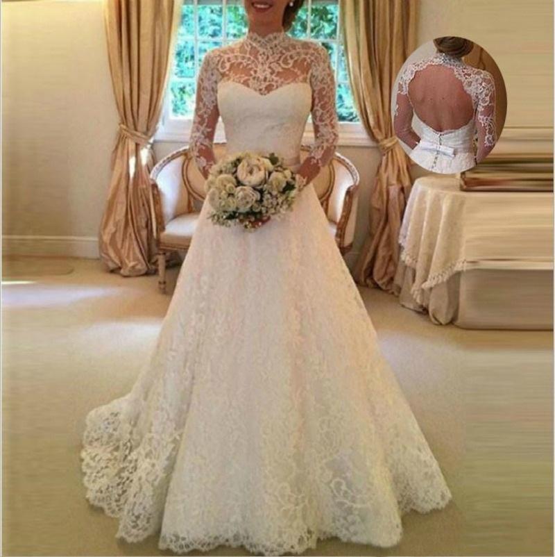 Romântico vestido de casamento de renda alta pescoço mangas compridas aberto volta vestido de noiva uma linha vestidos de casamento 2019