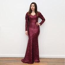 Burgundy Sequined Velvet Maxi Dress V Neck Puff Sleeve Pleated Full Sleeved Autumn Winter Evening Long