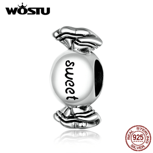 WOSTU Sweet Candy Charm 925 Sterling Silver Sweety Bead Women Pendant Fit Original Bracelet Necklace DIY Jewelry Making CTC353