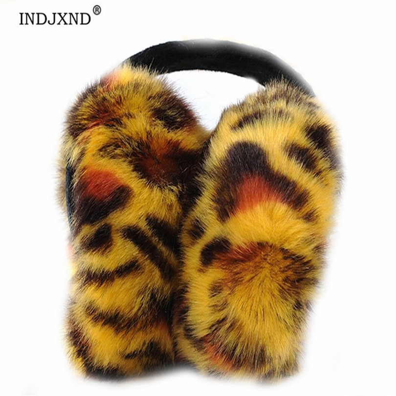 Hot Selling New Woman Style Leopard Fleece Earmuffs Winter Ear Muff Wrap Band Warmer Grip Earlap Comfortable Warm Earmuff Gift