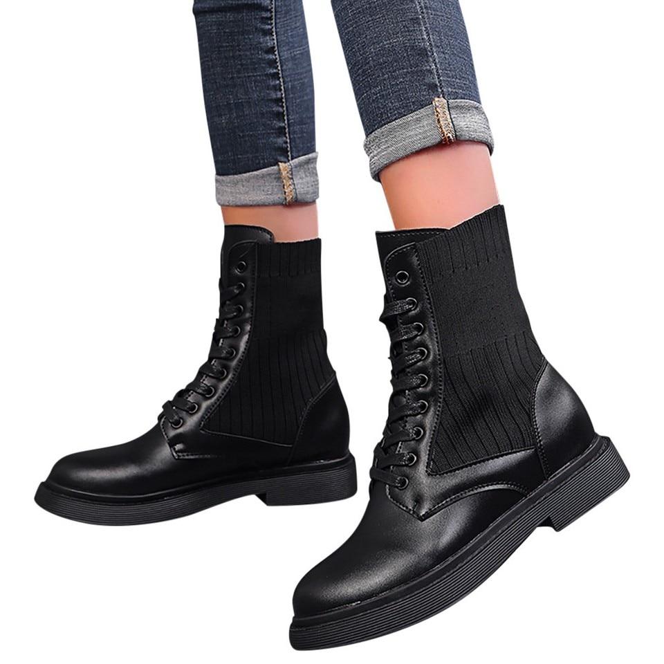 SAGACE Ladies Boots Black Round Head