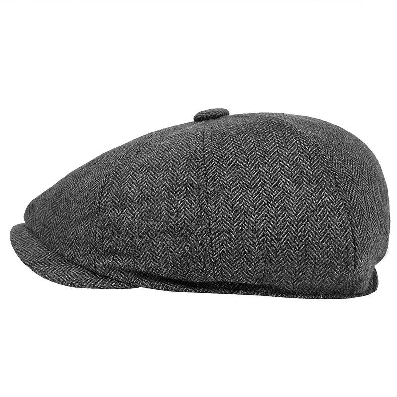 Men beret vintage Herringbone Gatsby Tweed peaky blinders hat Newsboy Beret Hat spring Flat Peaked Beret Hats 5