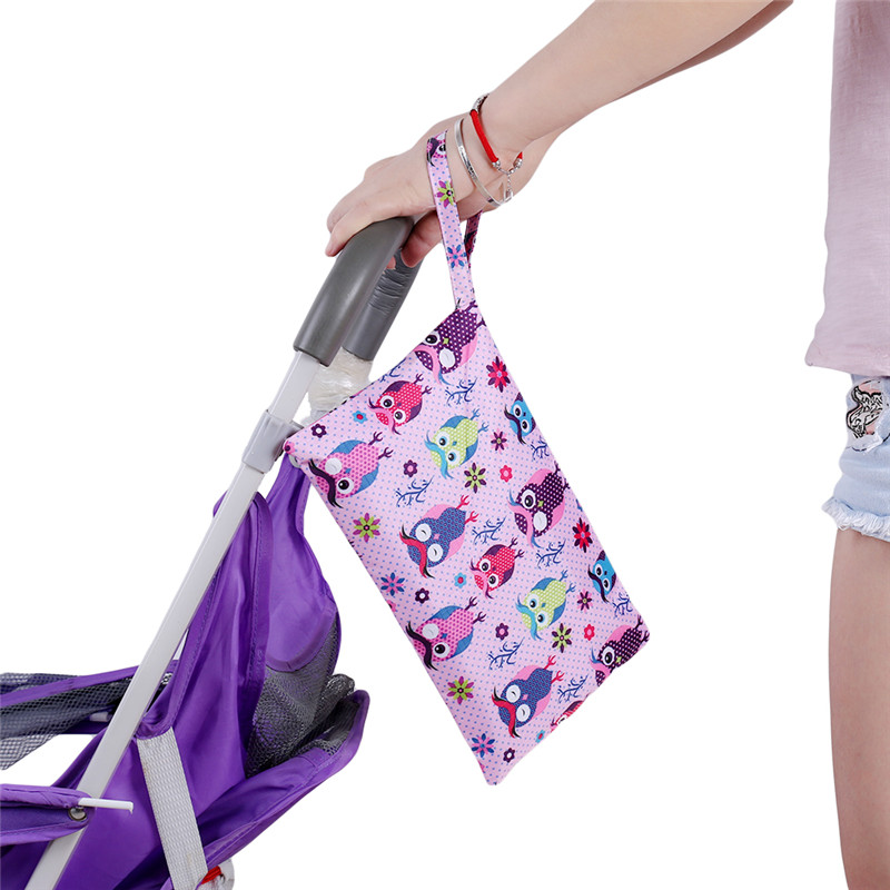 27*17 см мультяшный одиночный влажный мешок Карманный Детский тканевый мешок для подгузников водонепроницаемый многоразовый мешок дорожные