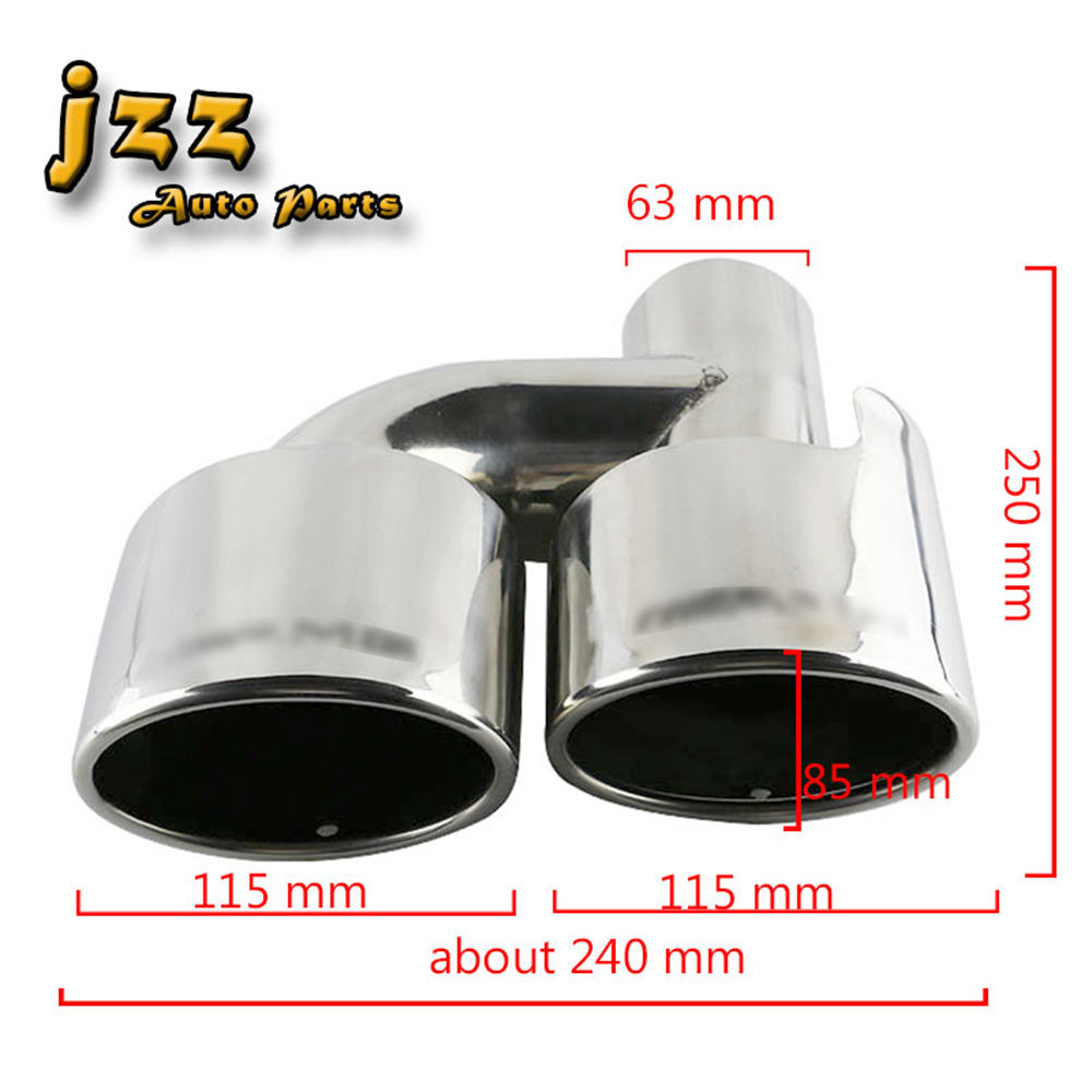 JZZ 1set Auto avgasröret på bilens dubbla ändrör i rostfritt - Reservdelar och bildelar - Foto 6