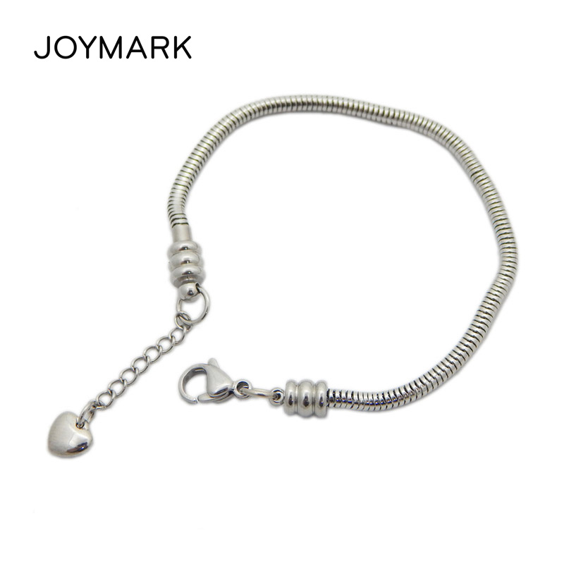 A silver alloy metal heart bead fit European snake charm chain buy 4 get 1 free