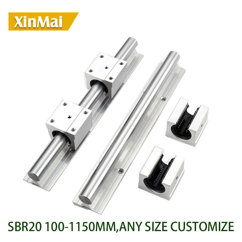 2 Set SBR20-1200mm 20 MM FULLY SUPPORTED LINEAR RAIL SHAFT ROD with 4 SBR20UU