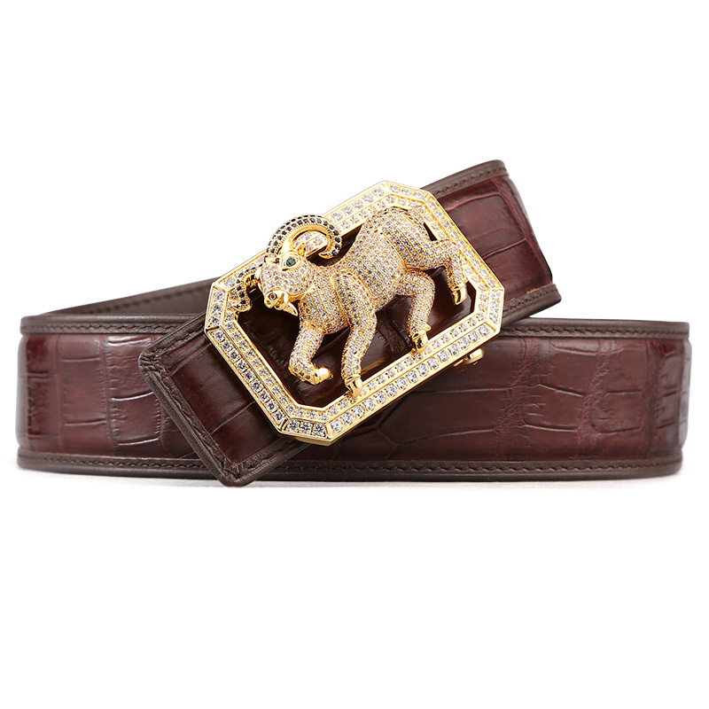McParko Coccodrillo Cintura Mens Cinture In Pelle Con Fibbia di Lusso Animale di Disegno Del Cuoio Genuino Cinghia di Vita con strass Fibbia - 2