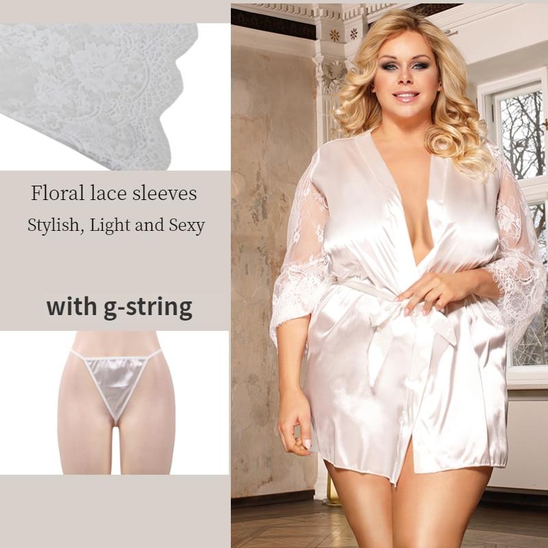 Image 3 - Comeonlover Womens Robes Sleepwear Lace Satin Sexy Conjunto Robe Chemise With Waist Belt Plus Size 5XL Bride Bathrobe RE80556Robes   -
