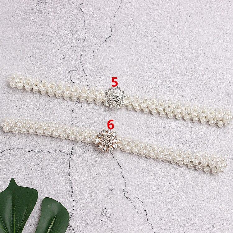 Cinturón blanco perla mujeres chicas moda diy hebillas obag Correa cinturones Niza alta calidad caída cinturones de barco hebillas - 6
