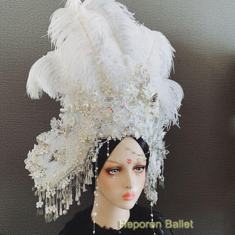 Фотостудия преувеличенный Национальный прилив головной убор шляпа перо аксессуары для волос подиума соревнование или головной убор для шо