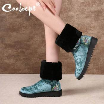 Coolcept High Quality Women Snow Boots Round Toe Flats Plush Fur Outdoor Casual Mid Calf Boots Warm Shoes Women Size 34-43