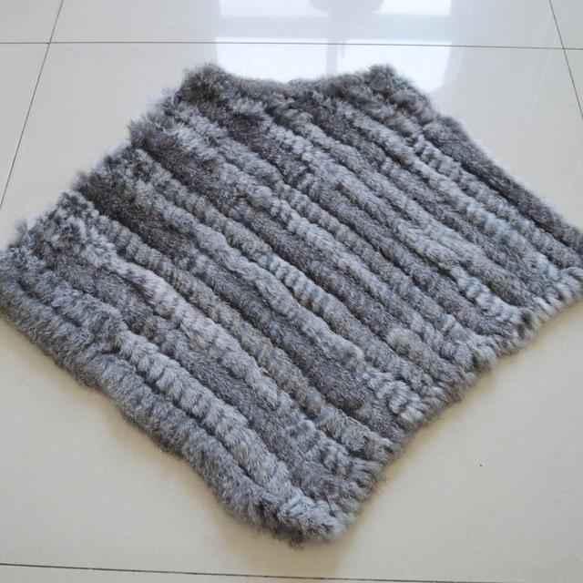 Autumn Winter Lady Genuine Knitted Rabbit Fur Poncho Wrap Scarves Women Natural Rabbit Fur Shawl Triangle Cape Wholesale Retail 5