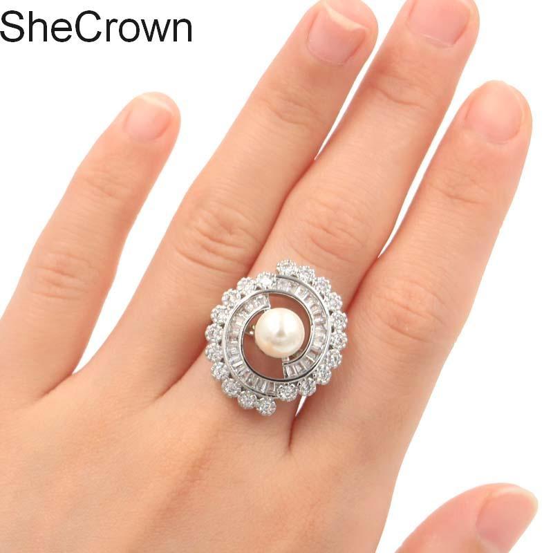Elegant White Sapphire Pearl CZ Wedding Silver Ring 25x25mm