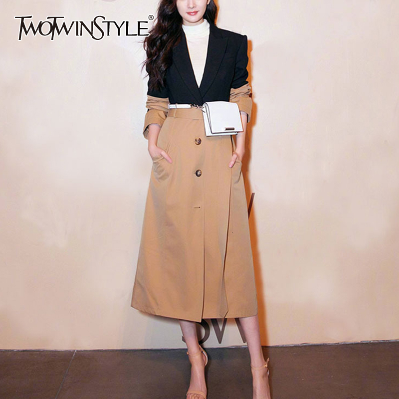 TWOTWINSTYLE Autumn Patchwork Hit Color Women's   Trench   Coat Long Sleeve High Waist Sashes Female Windbreaker Fashion New 2019