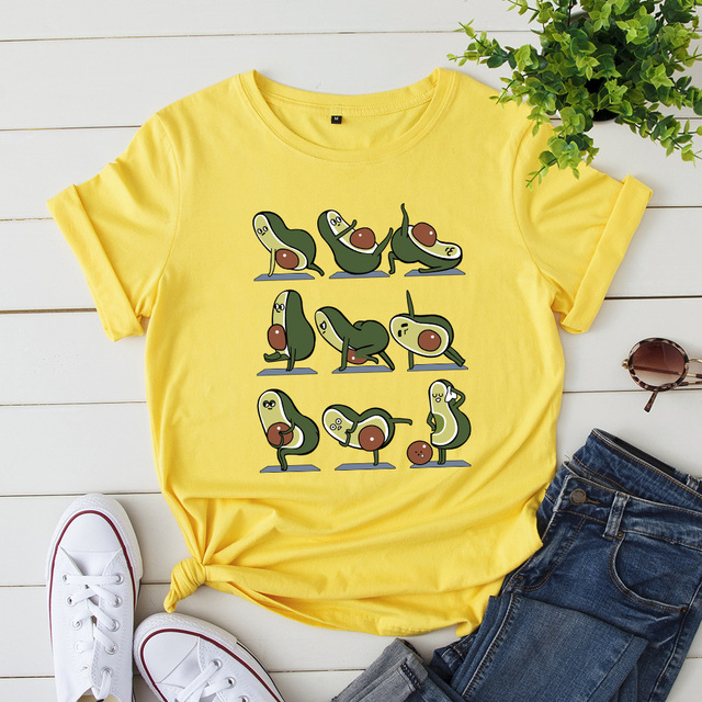 Women Vegan Avocado Print T-Shirt