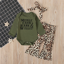 Get more info on the 2019 Fashion Newborn Infant Baby Boy Girl Letter Tops Romper Leopard Flared Pants Clothes Set