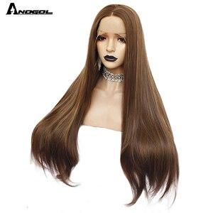 Image 5 - Аногол темно коричневые натуральные волнистые прямые парики для женщин термостойкие высокотемпературные синтетические парики с кружевом спереди