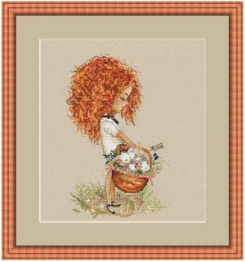 Curly girl with basket cross stitch kit Animal cotton thread 18ct 14ct 11ct linen flaxen canvas stitching embroidery DIY