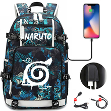 Backpack Schoolbags Naruto-Pattern Anime Usb-Charging-Port Girls Teens Boys Students