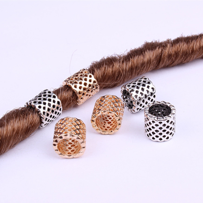10pcs/pack Gold Silver Different 7 Styles Alloy Hair Braid Dread Dreadlock Beads Rings Tube Approx 5-7mm Inner Hole Jewelry