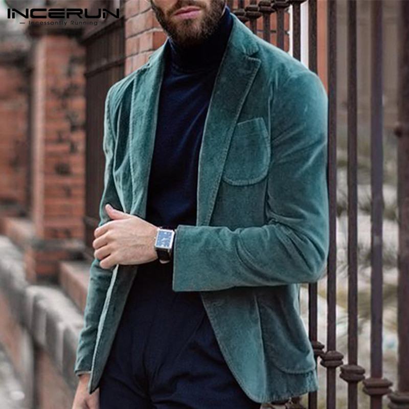 INCERUN Fashion Men Blazers Corduroy Solid Long Sleeve Outerwear Pockets Coats Handsome Business Blazer Casual Suits Jackets Men