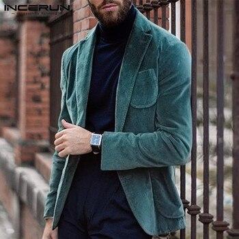 INCERUN Fashion Men Blazers Corduroy Solid Long Sleeve Outerwear Pockets Coats Handsome Business Blazer Casual Suits Jackets Men black side pockets long sleeves outerwear